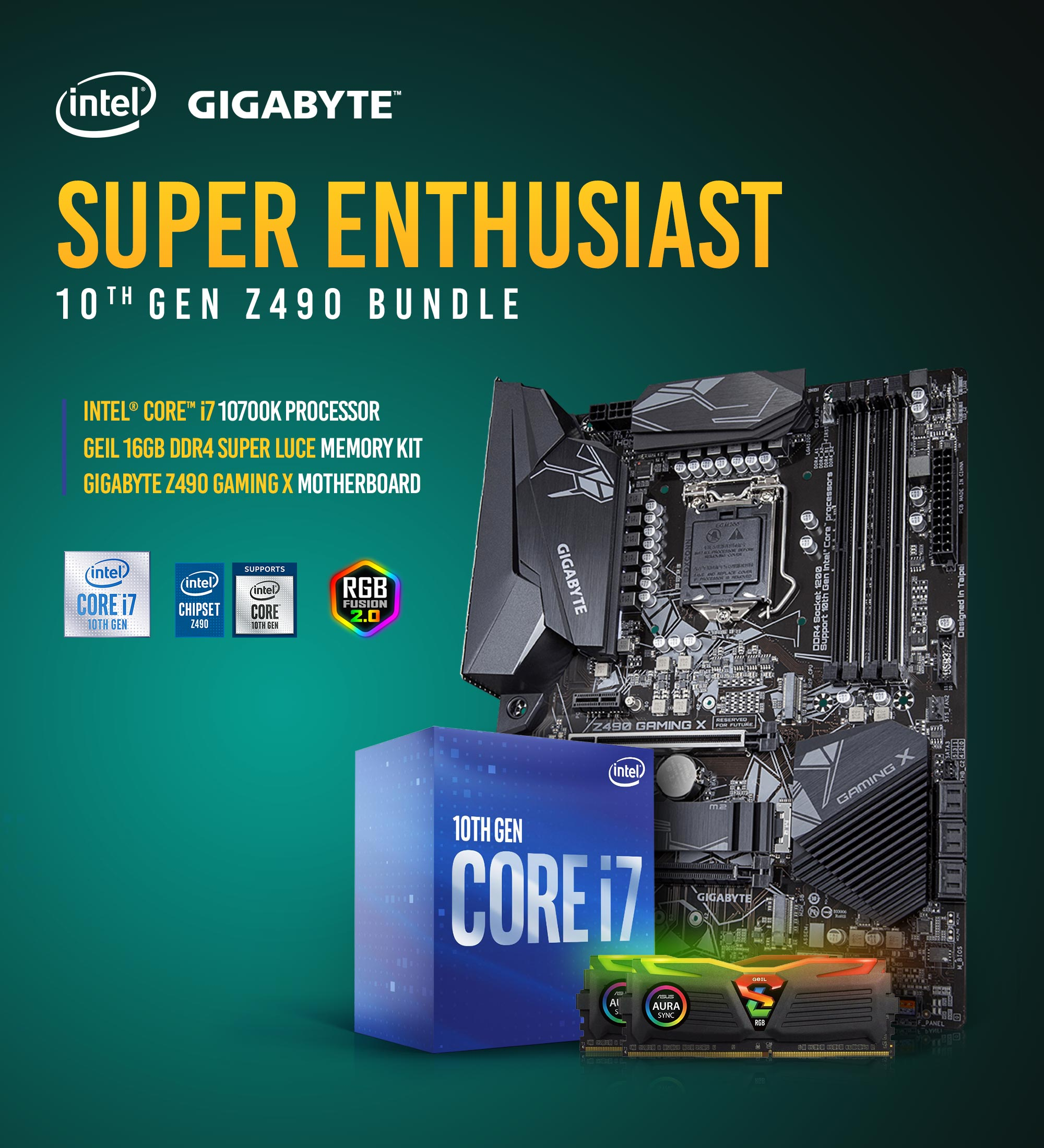 A large marketing image providing additional information about the product Intel 10th Gen Z490 Super Enthusiast Bundle - Additional alt info not provided