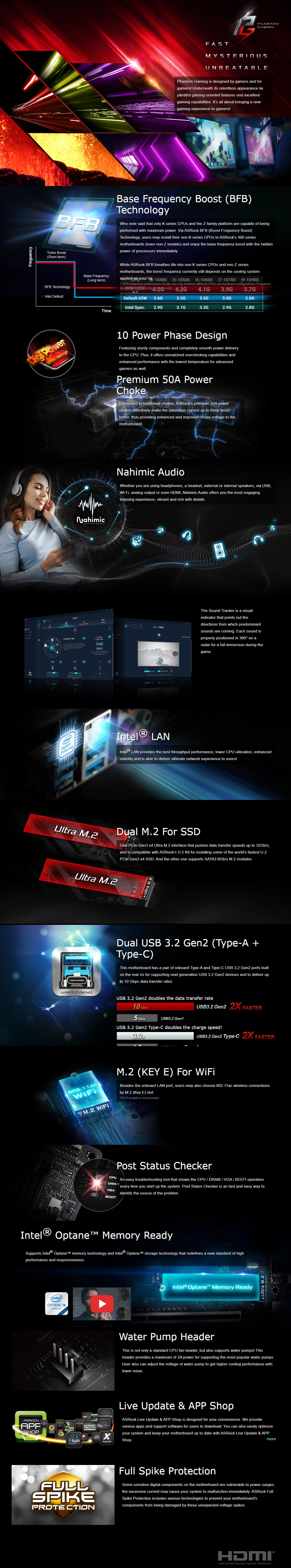 A large marketing image providing additional information about the product ASRock H470 Phantom Gaming 4 LGA1200 ATX Desktop Motherboard - Additional alt info not provided