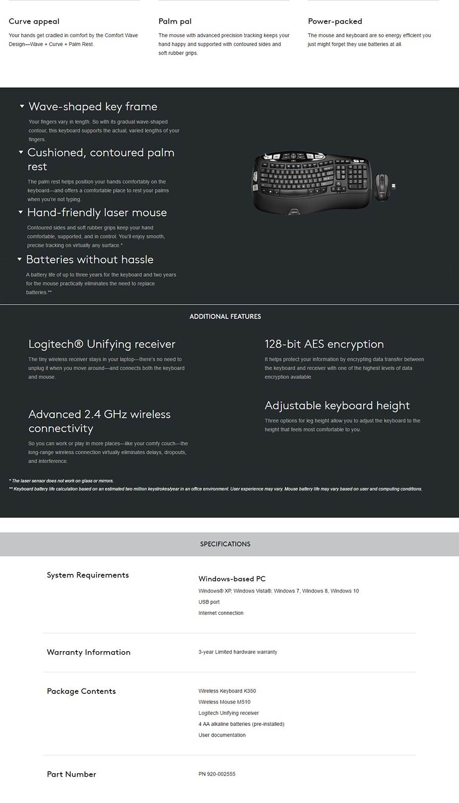 A large marketing image providing additional information about the product Logitech MK550 Wireless Wave Keyboard & Mouse Combo - Additional alt info not provided