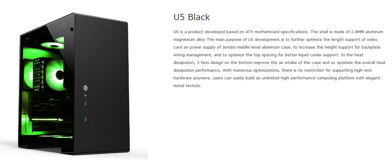 A large marketing image providing additional information about the product Jonsbo U5 Black Mid Tower Case w/Tempered Glass Side Panel - Additional alt info not provided