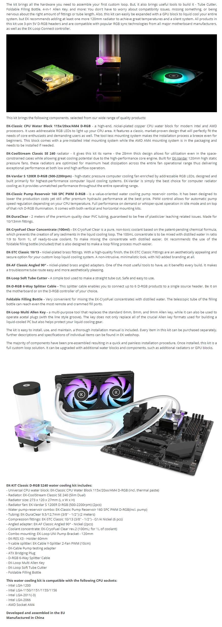 A large marketing image providing additional information about the product EK Classic Kit D-RGB S240 AIO Liquid Cooling Kit - Additional alt info not provided