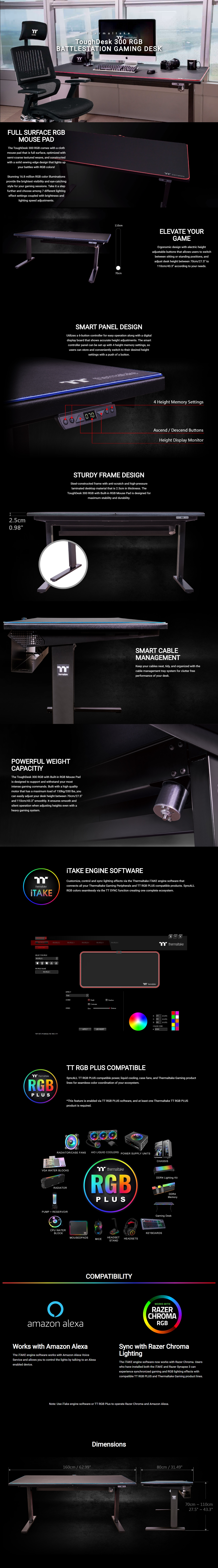 A large marketing image providing additional information about the product Thermaltake ToughDesk 300 RGB Battlestation Gaming Desk - Additional alt info not provided