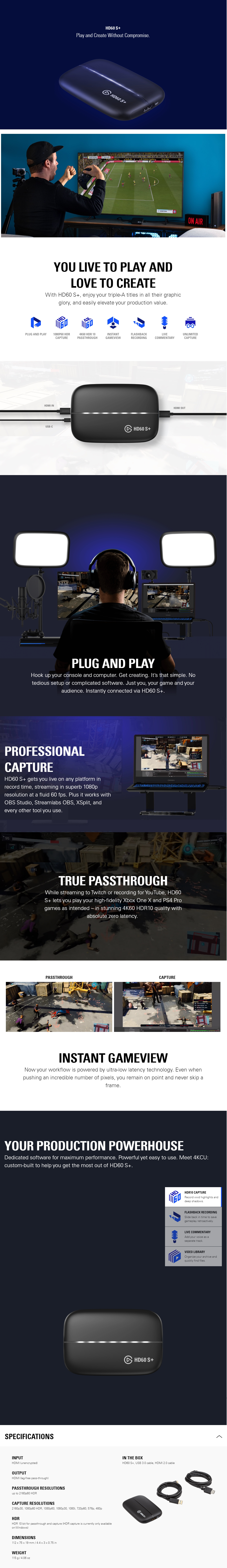 A large marketing image providing additional information about the product Elgato Game Capture HD60 S+ - Additional alt info not provided