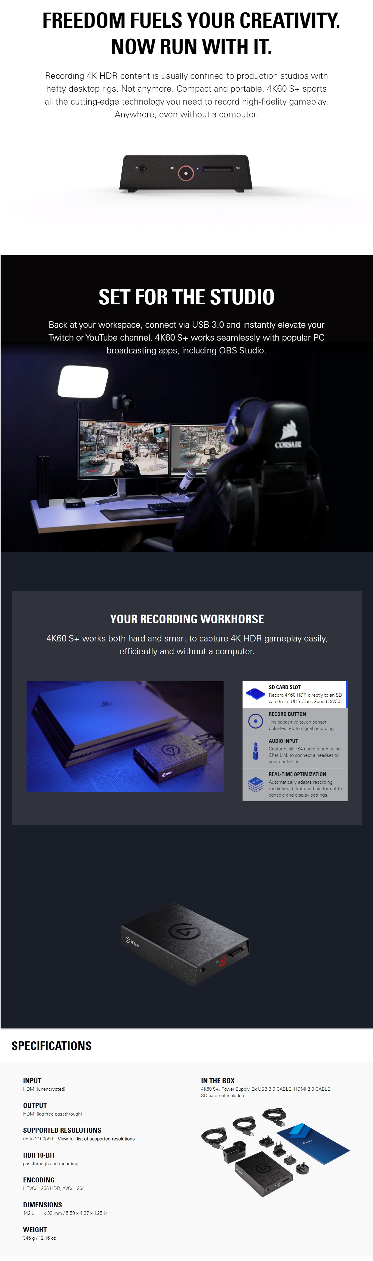 A large marketing image providing additional information about the product Elgato Game Capture 4K60 S+ - Additional alt info not provided