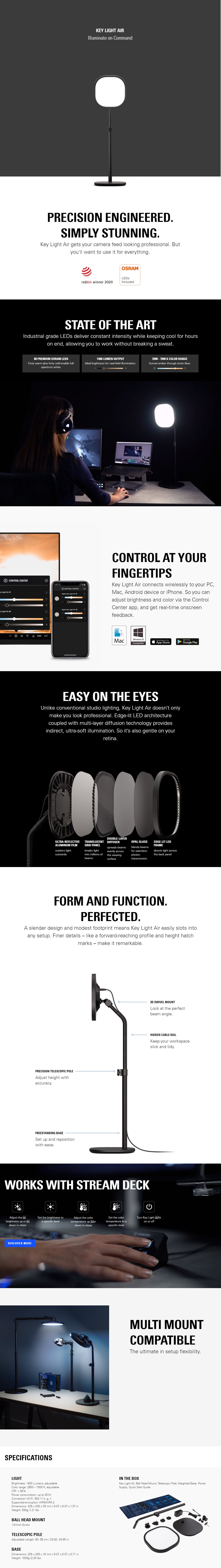 A large marketing image providing additional information about the product Elgato Key Light Air - Additional alt info not provided