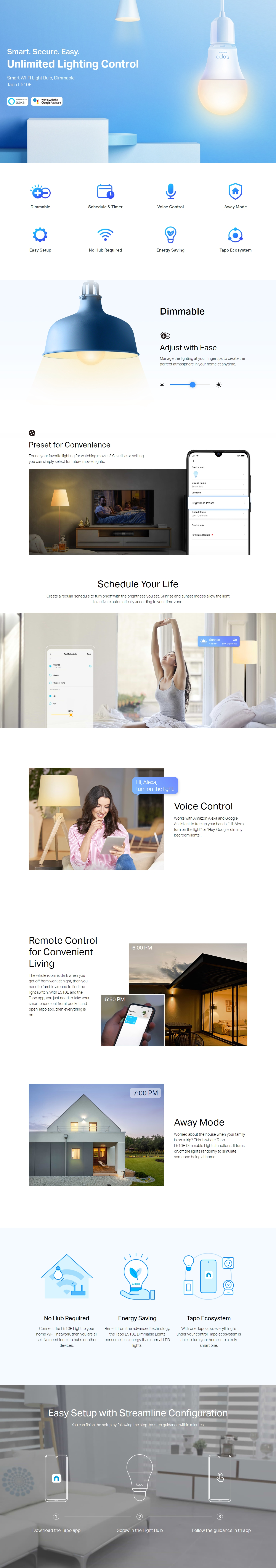 A large marketing image providing additional information about the product TP-LINK Tapo L510E Smart Bulb - Additional alt info not provided
