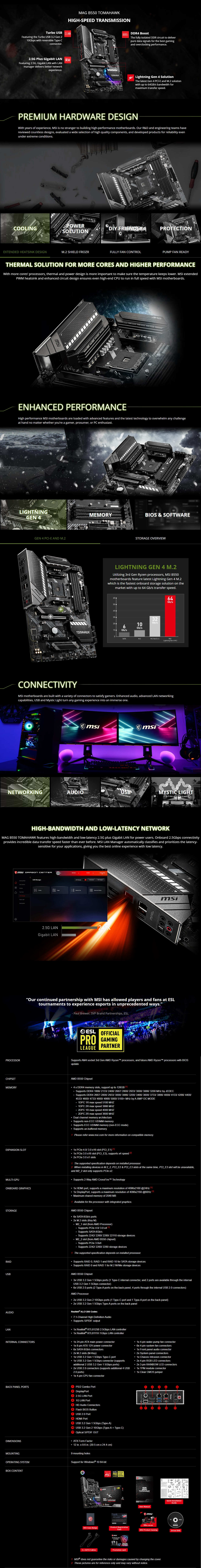 A large marketing image providing additional information about the product MSI MAG B550 Tomahawk AM4 ATX Desktop Motherboard - Additional alt info not provided