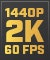 Product Feature badge with title: 1440p Optimised