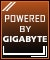 Product Feature badge with title: Powered By Gigabyte