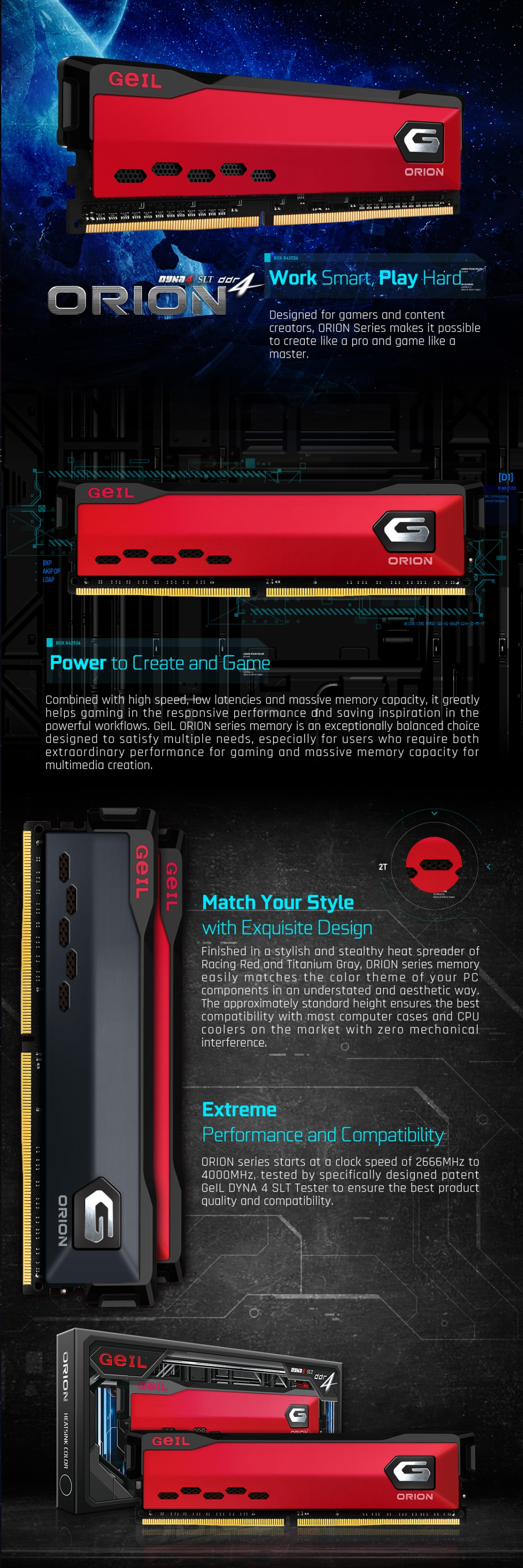 A large marketing image providing additional information about the product GeIL 32GB Kit (2x16GB) DDR4 Orion Rust Red C16 3000Mhz - Additional alt info not provided