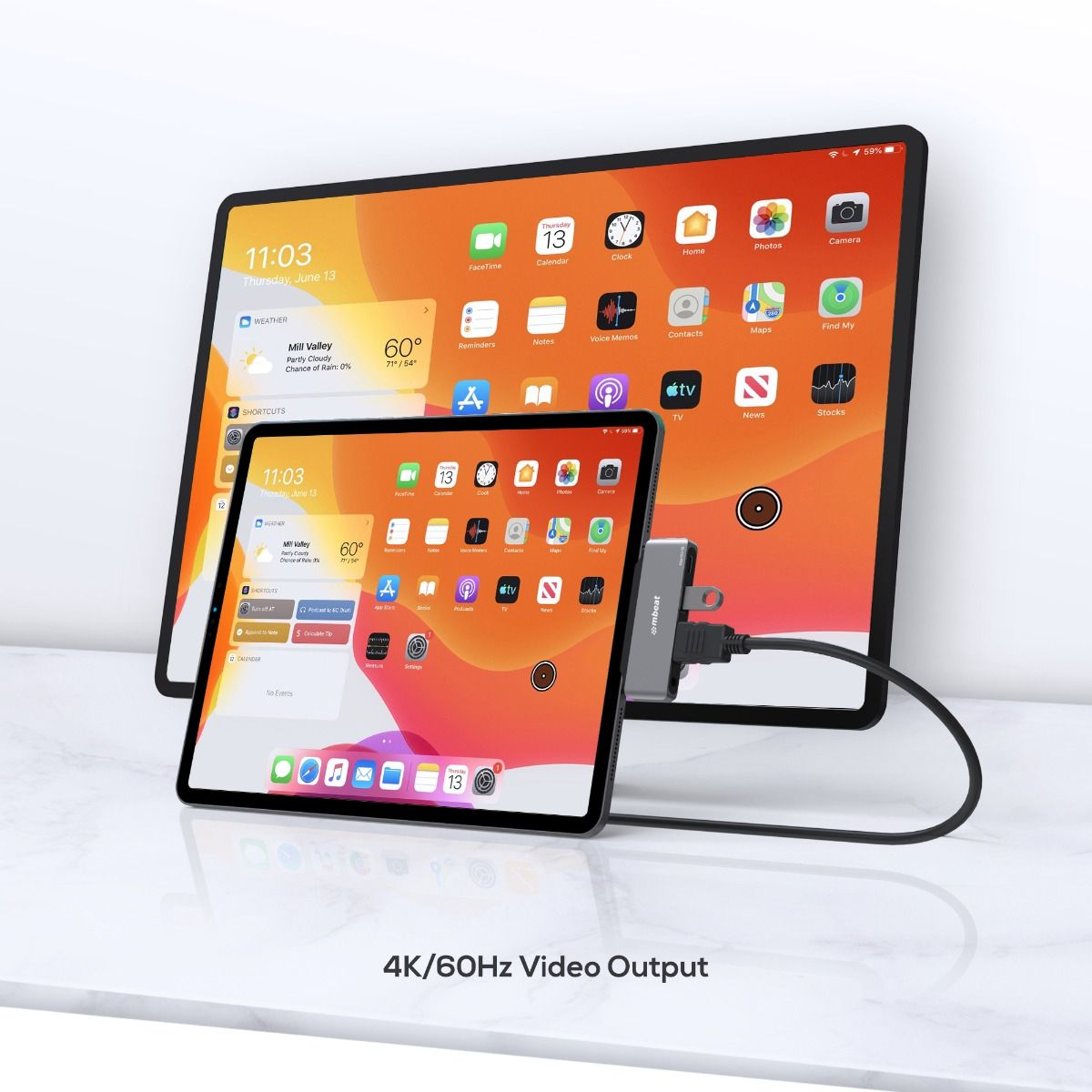 A large marketing image providing additional information about the product mBeat Elite Mini 4-in-1 USB-C Mobile Hub For IPad Pro - Additional alt info not provided