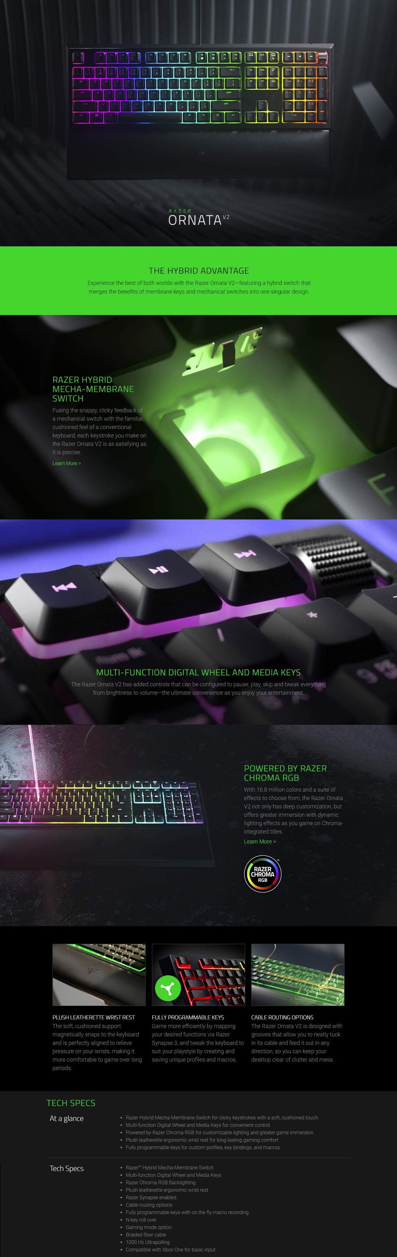 A large marketing image providing additional information about the product Razer Ornata Mecha-Membrane RGB Gaming Keyboard - Additional alt info not provided