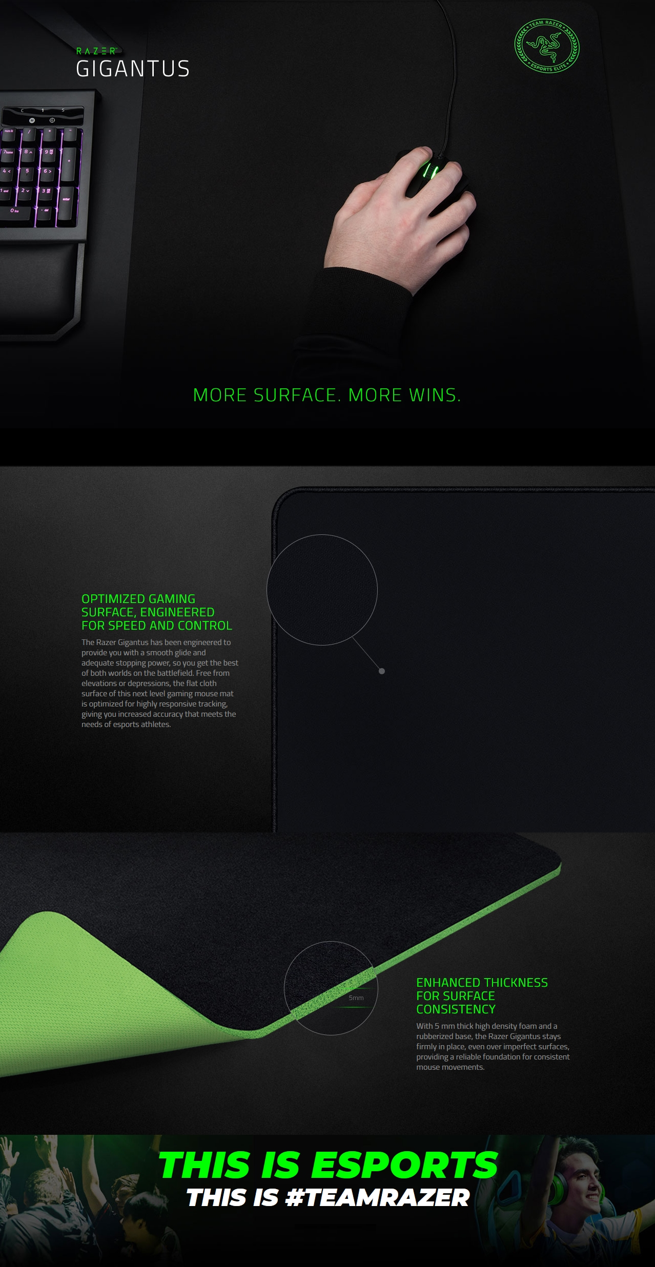 A large marketing image providing additional information about the product Razer Gigantus Soft Gaming Mouse Mat - Large - Additional alt info not provided