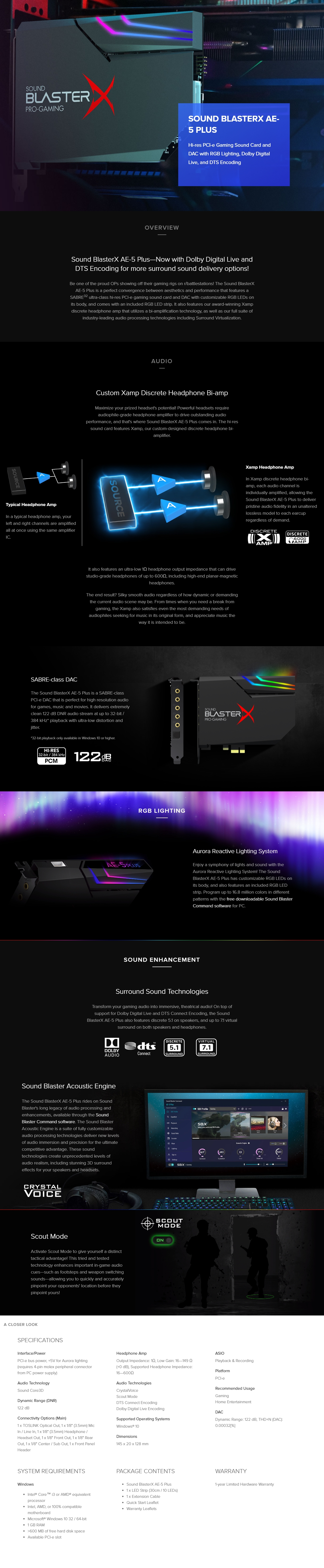 A large marketing image providing additional information about the product Creative Sound BlasterX AE-5 Plus Hi-Res PCIe Gaming Sound Card - Additional alt info not provided