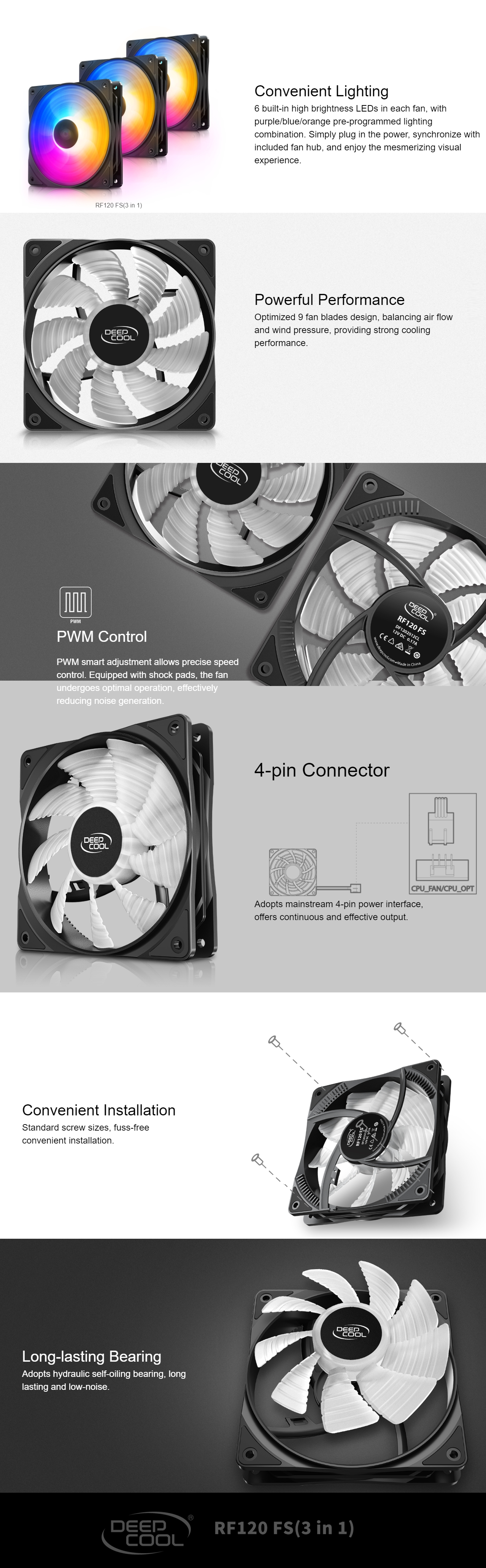 A large marketing image providing additional information about the product Deepcool RF120 FS 3 in 1 120mm Case Fan Pack - Additional alt info not provided