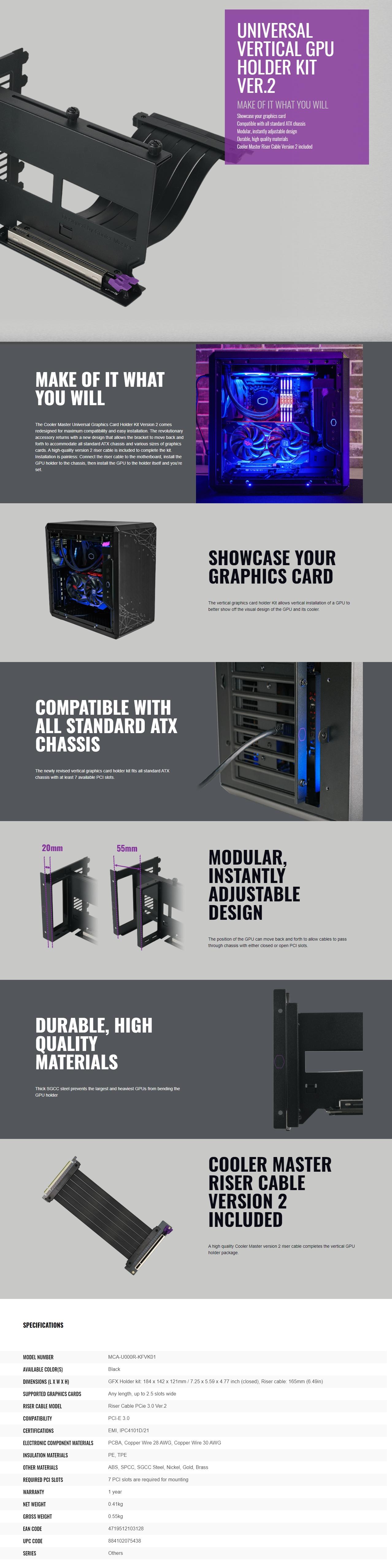 Kit de Soporte Vertical para GPU Cooler Master