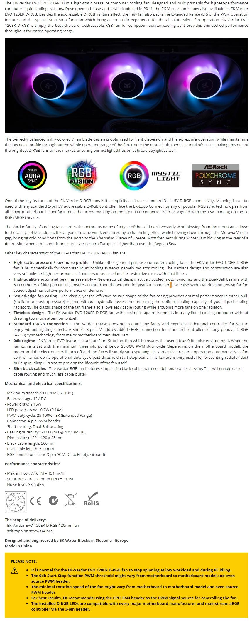 A large marketing image providing additional information about the product EK-Vardar EVO D-RGB 120ER 120mm Addressable RGB Fan - Additional alt info not provided