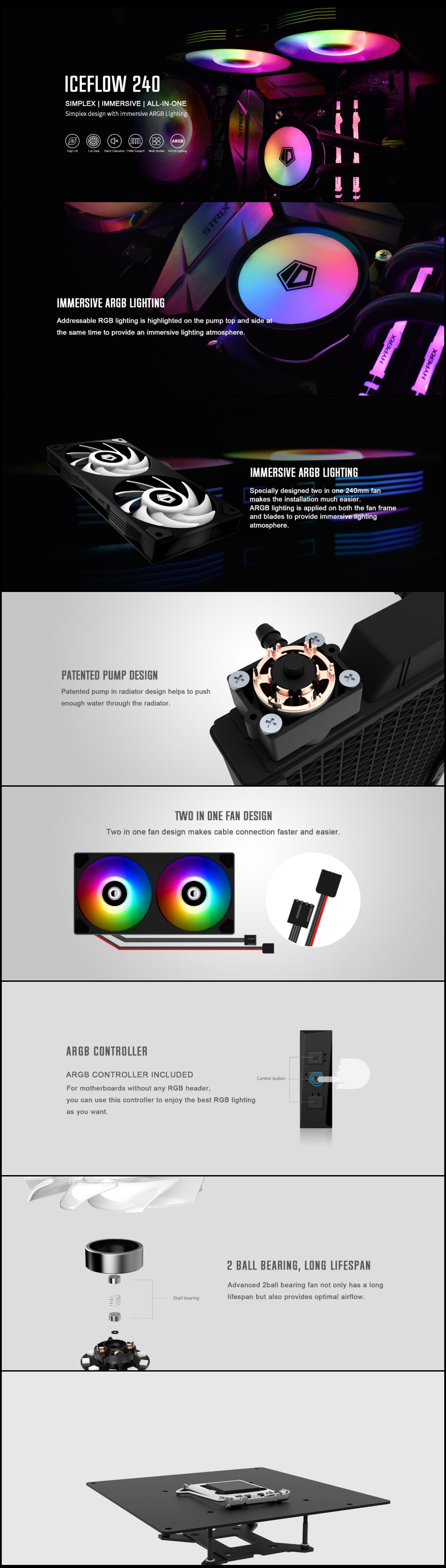 A large marketing image providing additional information about the product ID-COOLING IceFlow 240 Addressable RGB AIO CPU Liquid Cooler - Additional alt info not provided