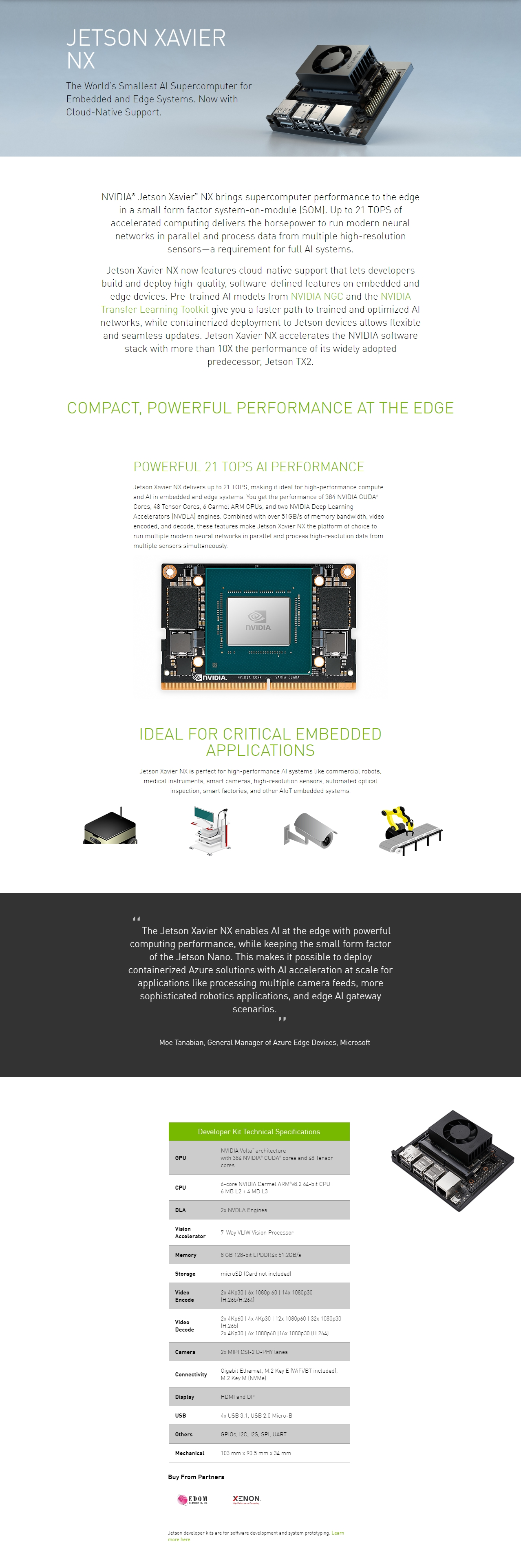 A large marketing image providing additional information about the product NVIDIA Jetson Xavier NX Developer Kit - Additional alt info not provided