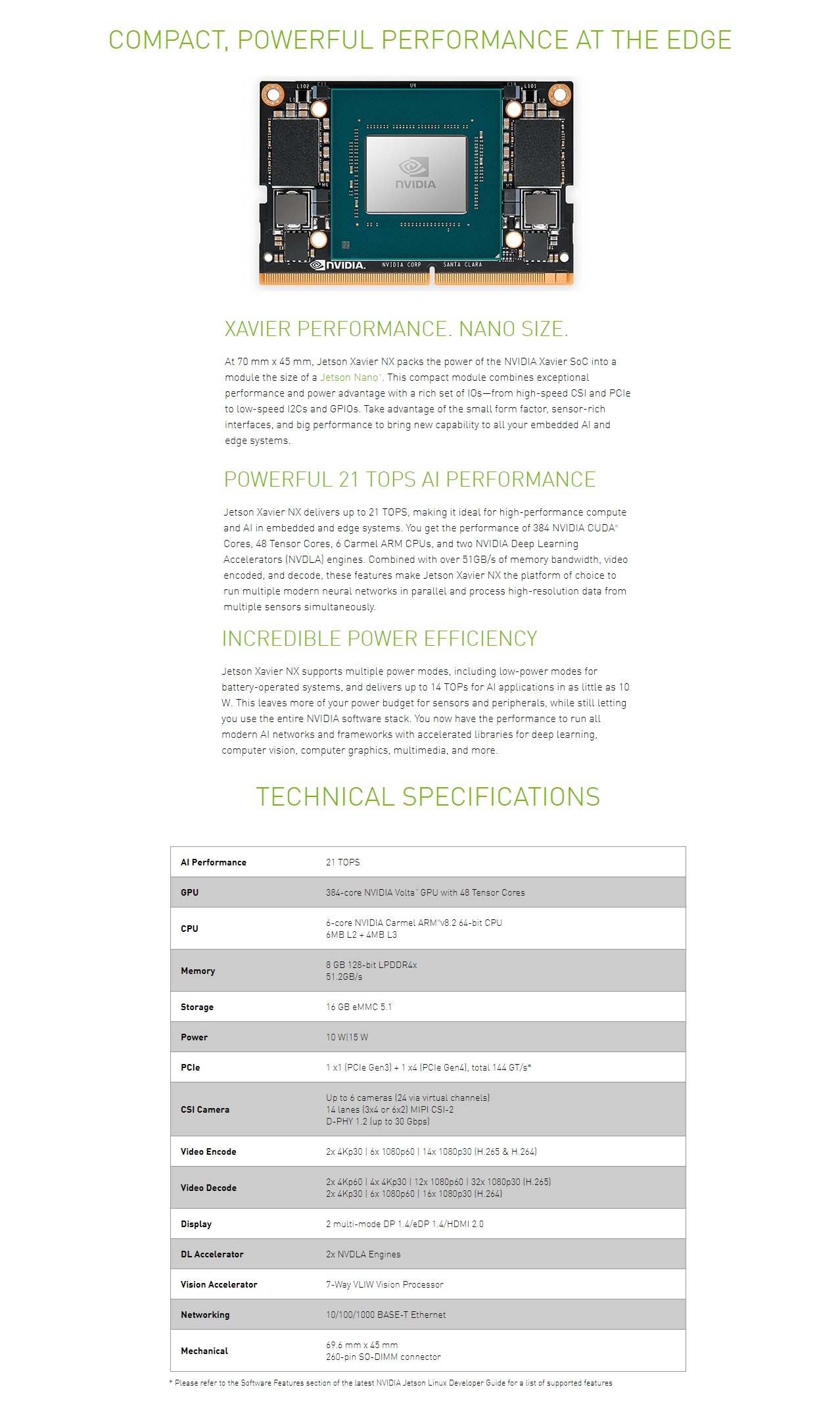 A large marketing image providing additional information about the product NVIDIA Jetson Xavier NX Module - Additional alt info not provided