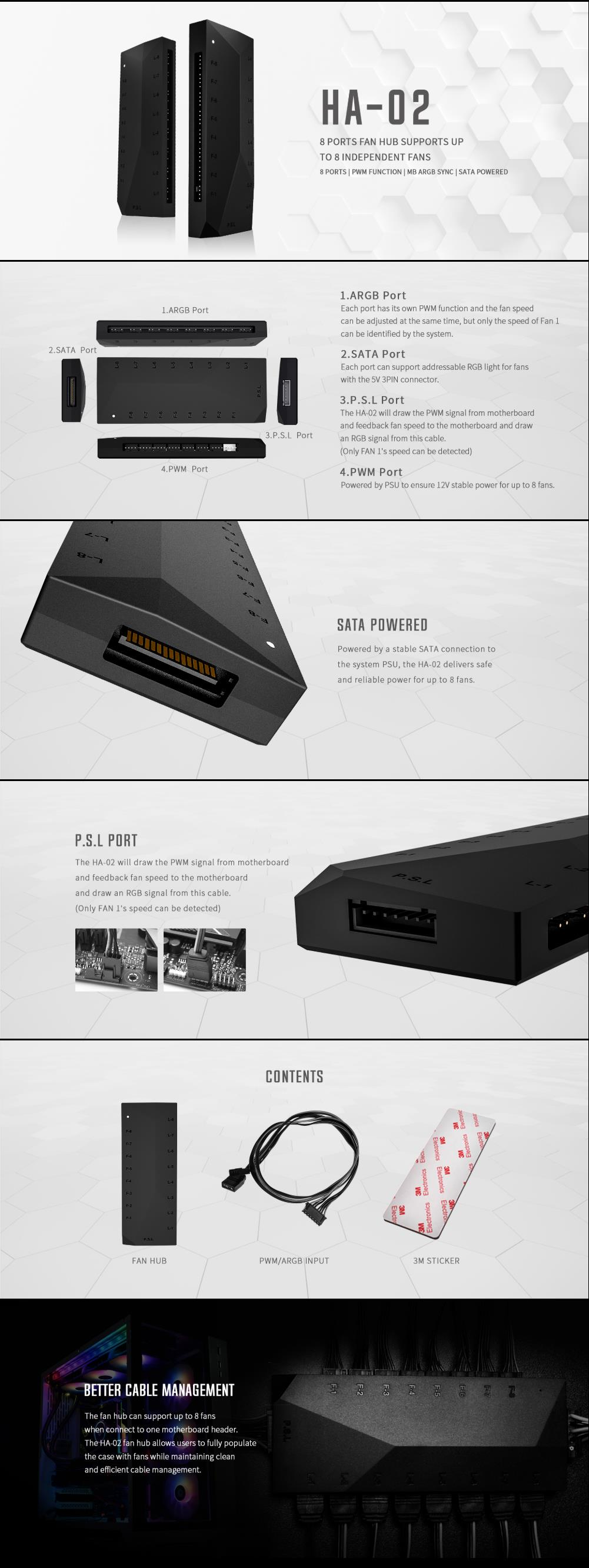 A large marketing image providing additional information about the product ID-COOLING HA-02 Addressable RGB PWM Fan Hub - Additional alt info not provided