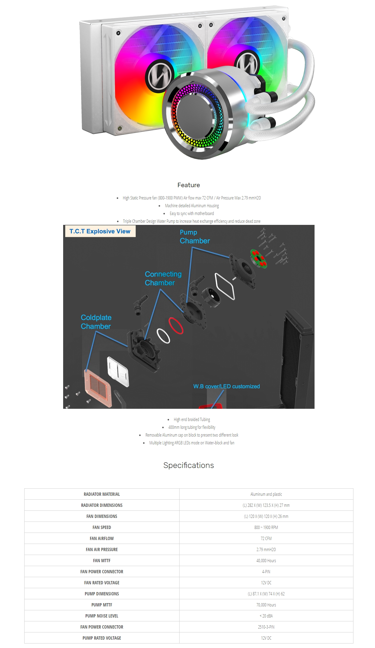 A large marketing image providing additional information about the product Lian-Li Galahad 240 Silver ARGB AIO Liquid CPU Cooler - Additional alt info not provided
