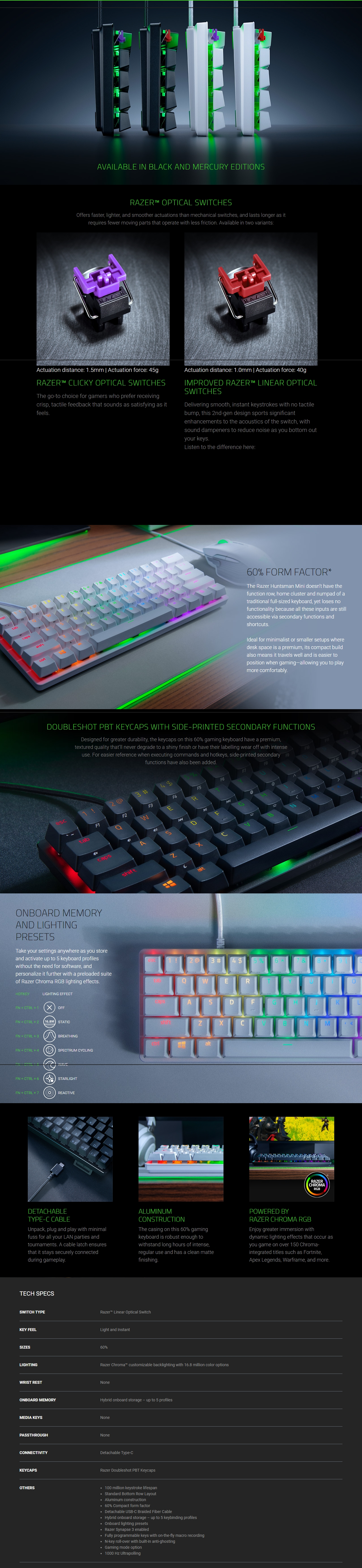 A large marketing image providing additional information about the product Razer Huntsman Mini Opto-Mechanical Switch Chroma Gaming Keyboard - Linear - Additional alt info not provided