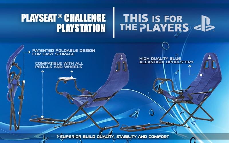 A large marketing image providing additional information about the product Playseat Challenge Foldable Driving Simulator - PlayStation Edition - Additional alt info not provided