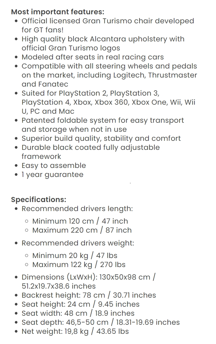 A large marketing image providing additional information about the product Playseat Gran Turismo Driving Simulator - Additional alt info not provided