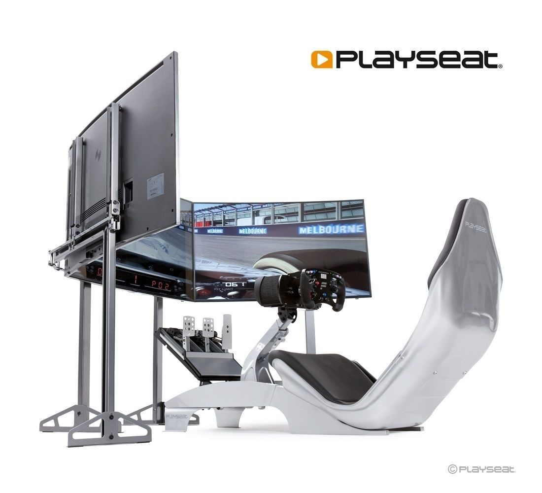 A large marketing image providing additional information about the product Playseat TV Stand - Triple Package - Additional alt info not provided
