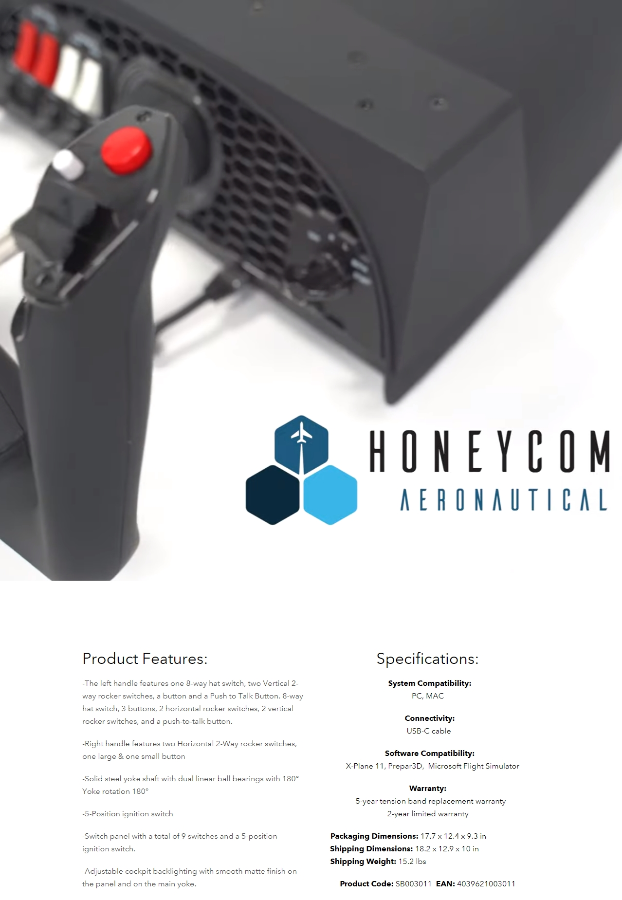 A large marketing image providing additional information about the product Honeycomb Alpha Flight Controls - Yoke & Switch Panel - Additional alt info not provided