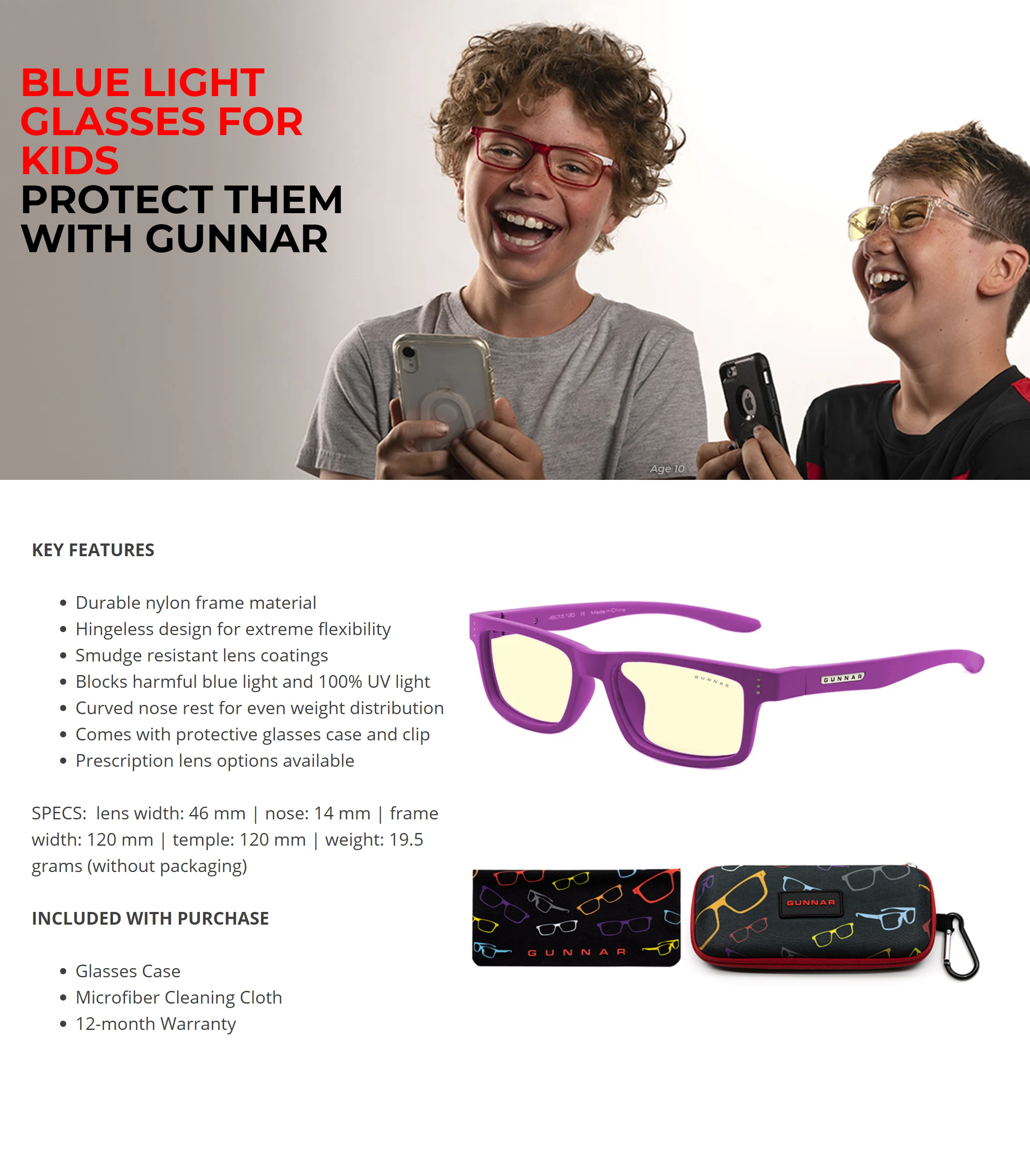 A large marketing image providing additional information about the product Gunnar Cruz Kids Amber Magenta Indoor Digital Eyewear Small - Additional alt info not provided