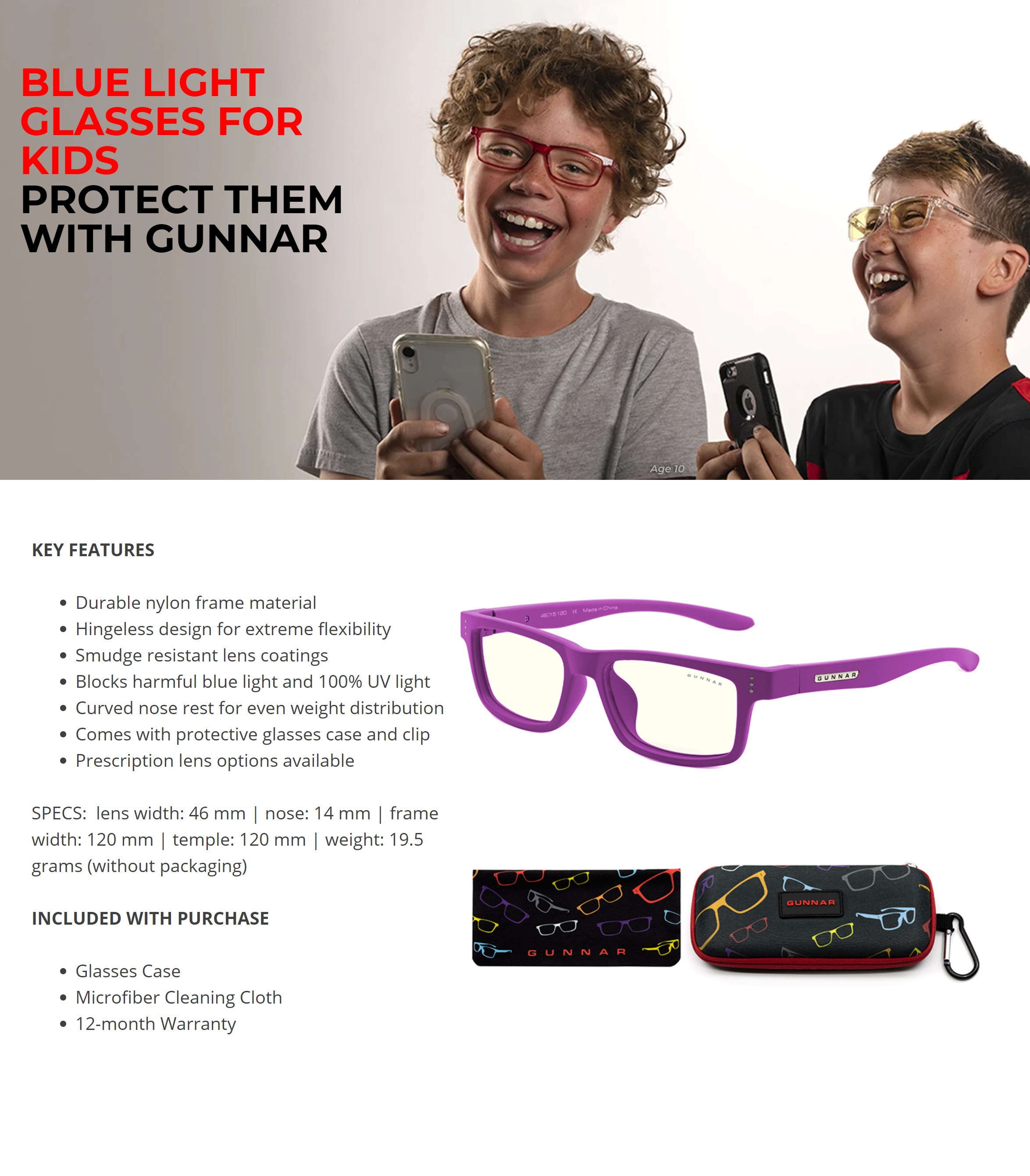 A large marketing image providing additional information about the product Gunnar Cruz Kids Clear Magenta Indoor Digital Eyewear Small - Additional alt info not provided
