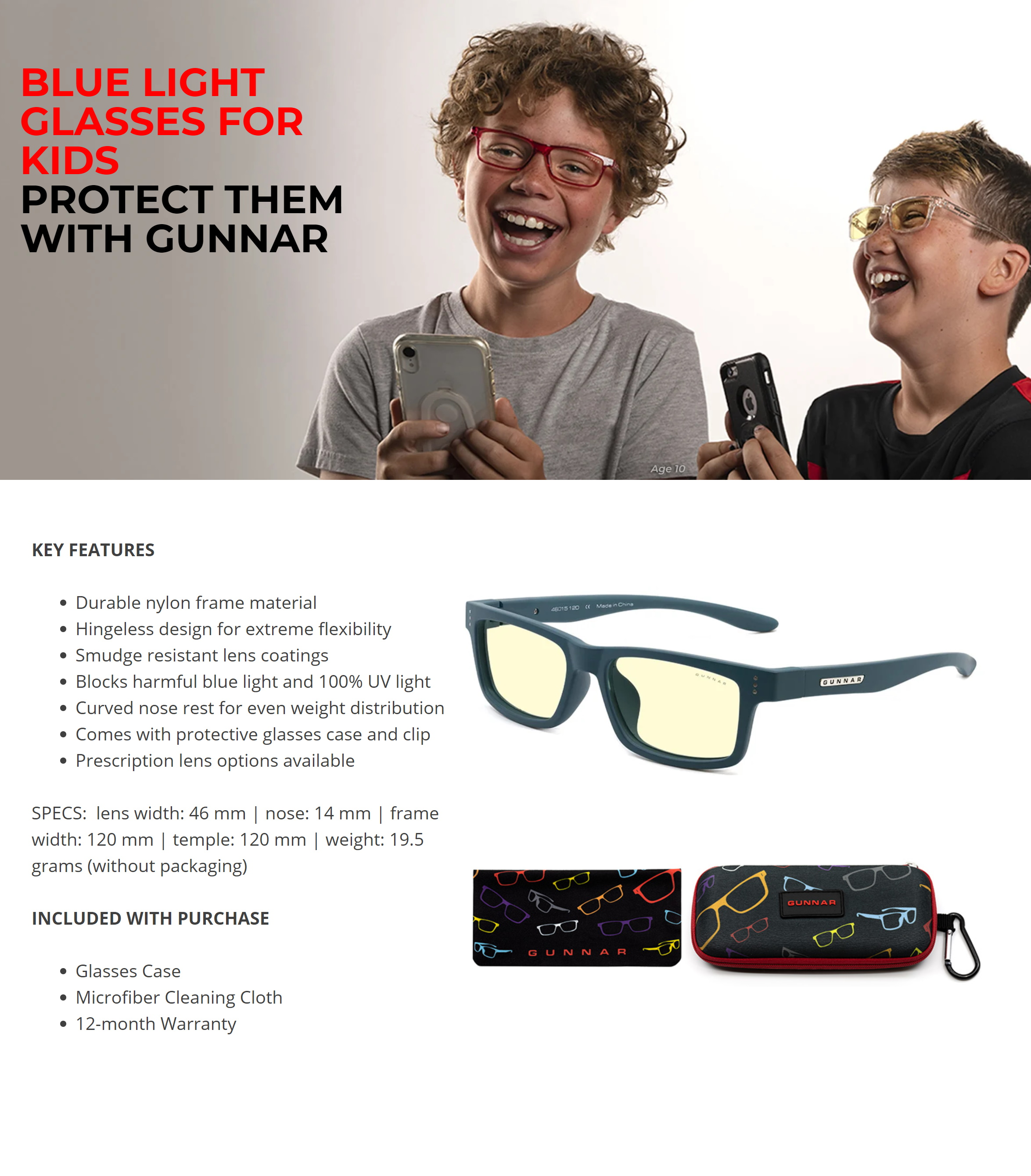 A large marketing image providing additional information about the product Gunnar Cruz Kids Amber Teal Indoor Digital Eyewear Small - Additional alt info not provided