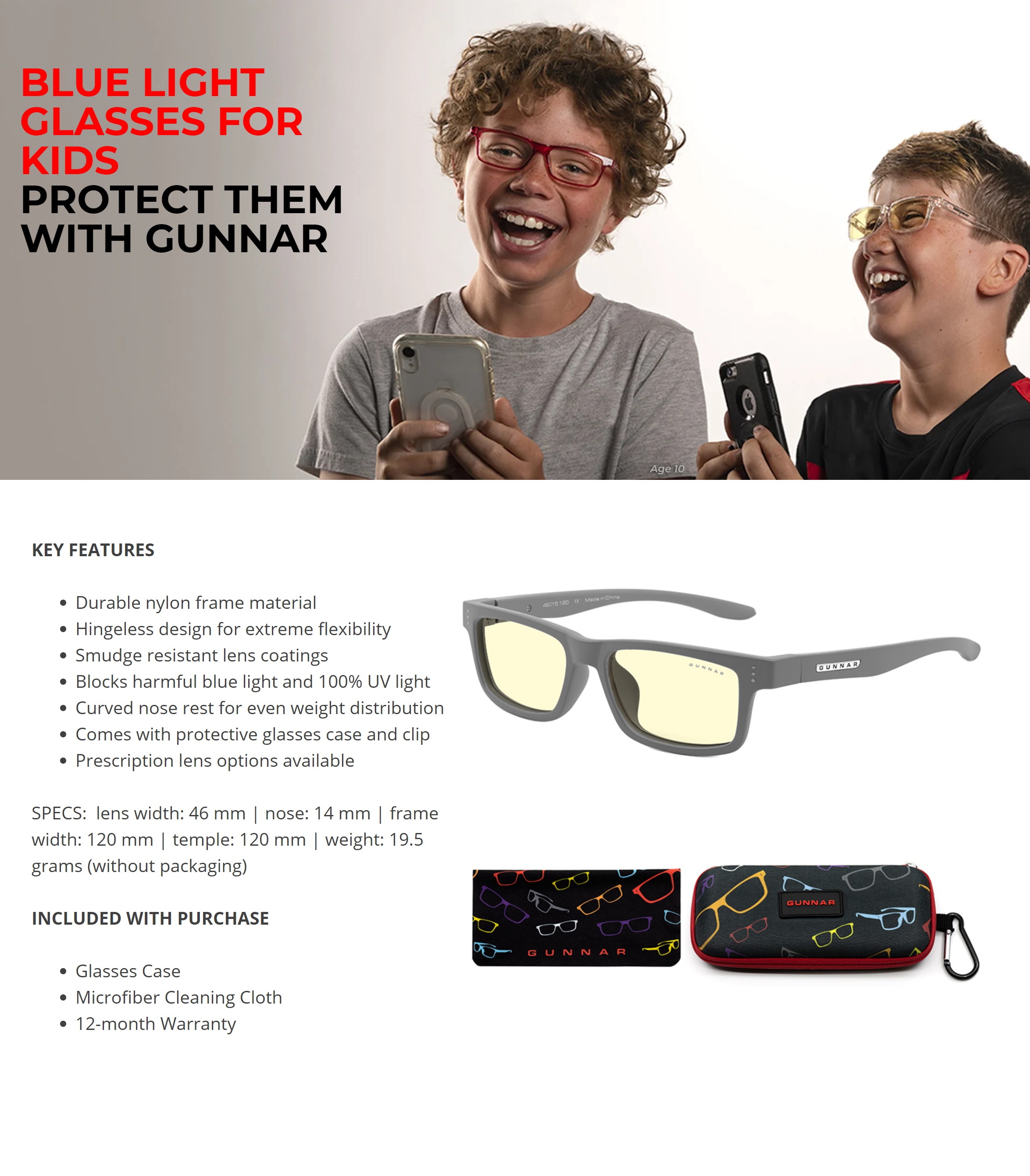 A large marketing image providing additional information about the product Gunnar Cruz Kids Amber Grey Indoor Digital Eyewear Small - Additional alt info not provided
