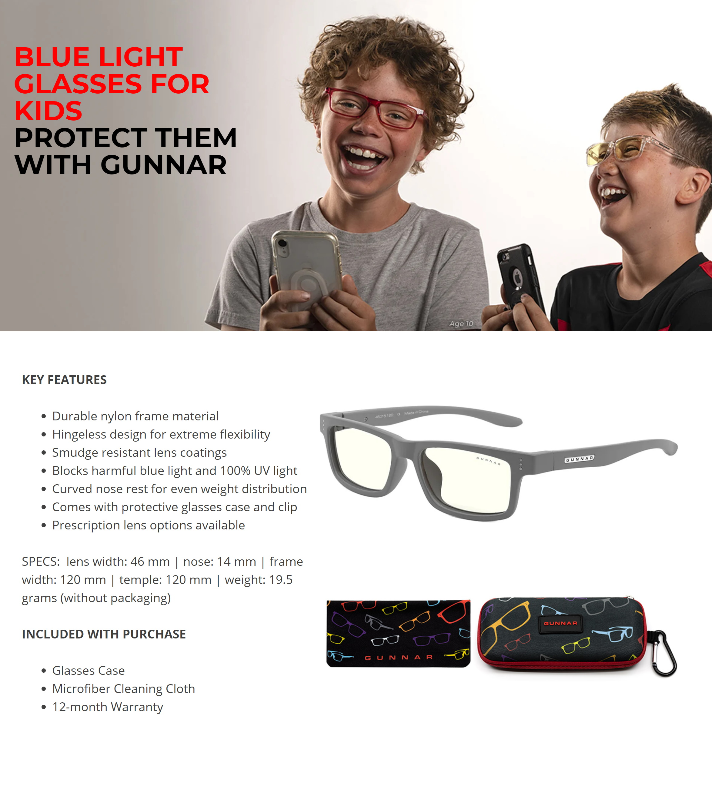 A large marketing image providing additional information about the product Gunnar Cruz Kids Clear Grey Indoor Digital Eyewear Small - Additional alt info not provided