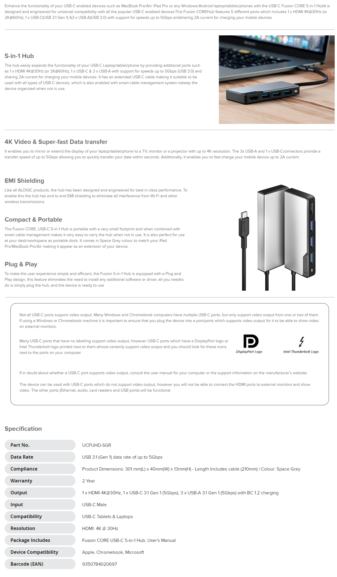 A large marketing image providing additional information about the product ALOGIC USB-C Fusion CORE 5-in-1 Hub - Additional alt info not provided