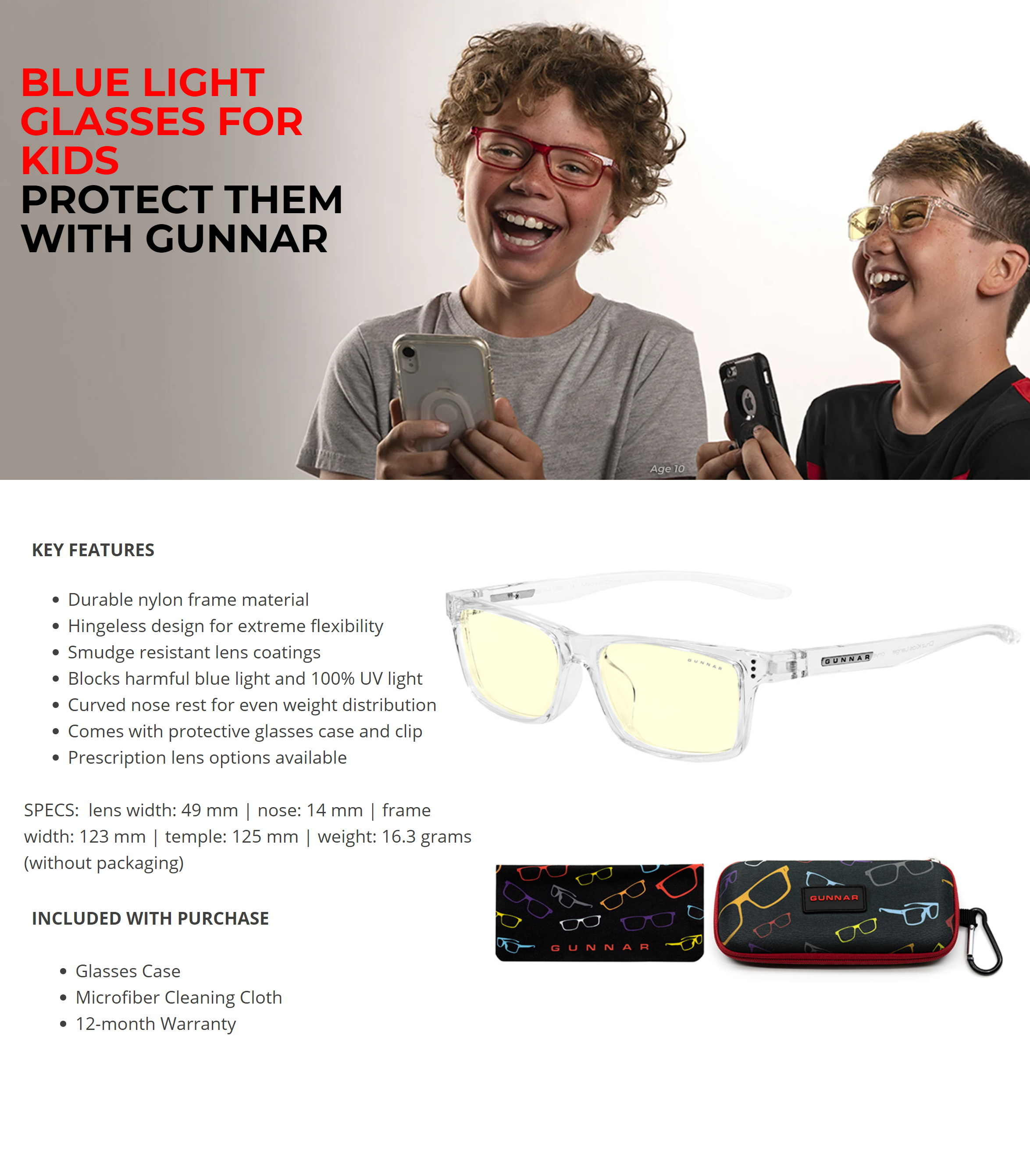 A large marketing image providing additional information about the product Gunnar Cruz Kids Amber Crystal Indoor Digital Eyewear Large - Additional alt info not provided