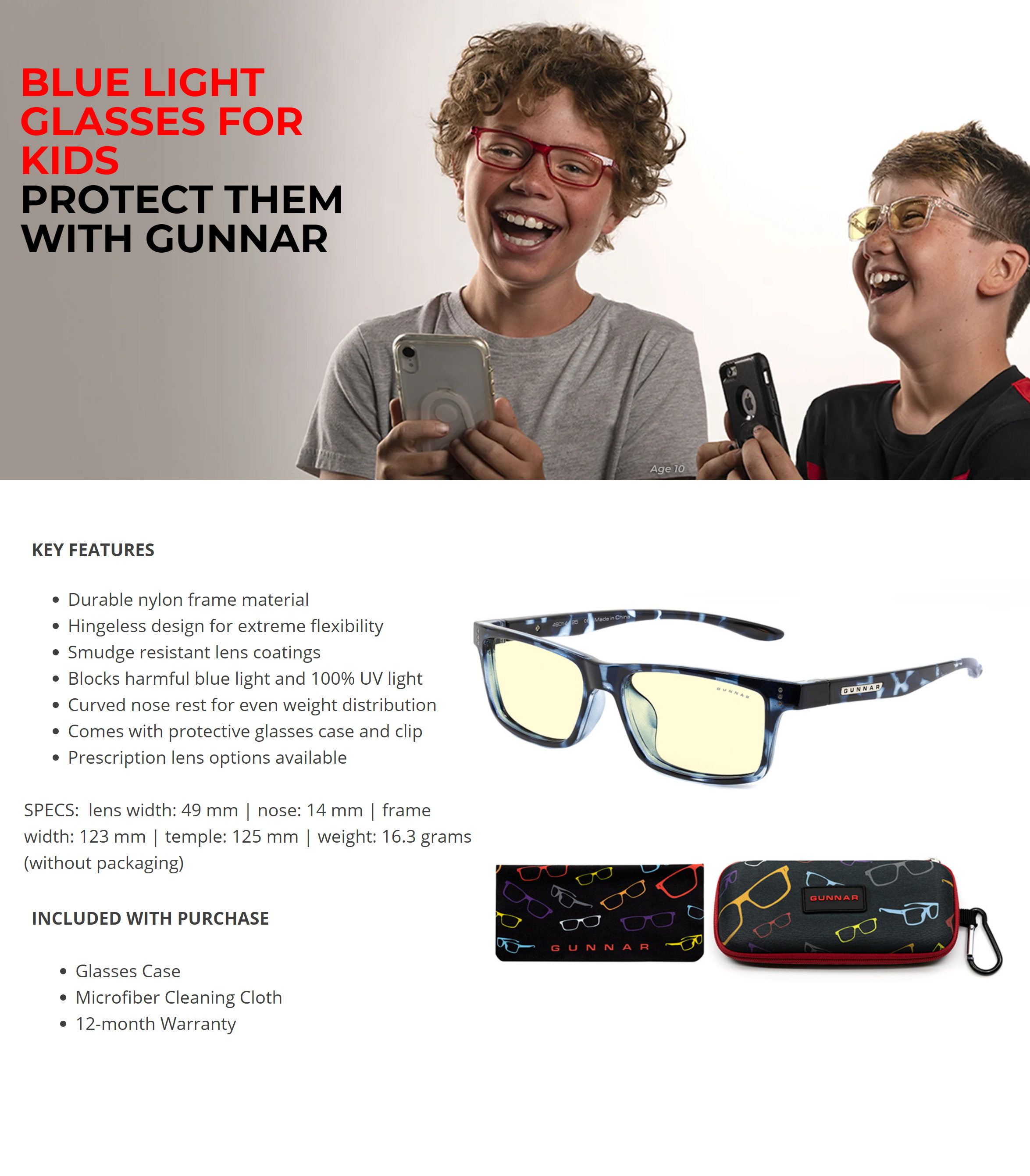 A large marketing image providing additional information about the product Gunnar Cruz Kids Amber Navy Tortoise Indoor Digital Eyewear Large - Additional alt info not provided