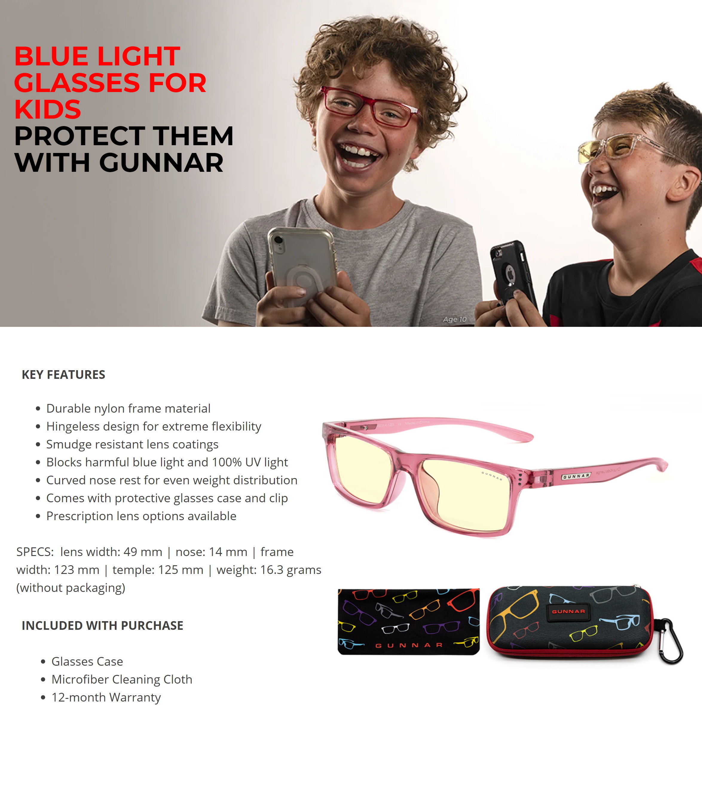 A large marketing image providing additional information about the product Gunnar Cruz Kids Amber Pink Indoor Digital Eyewear Large - Additional alt info not provided