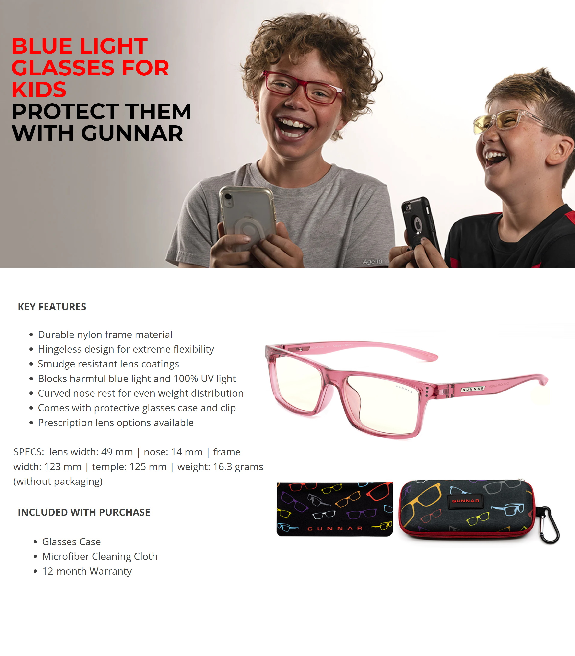 A large marketing image providing additional information about the product Gunnar Cruz Kids Clear Pink Indoor Digital Eyewear Large - Additional alt info not provided