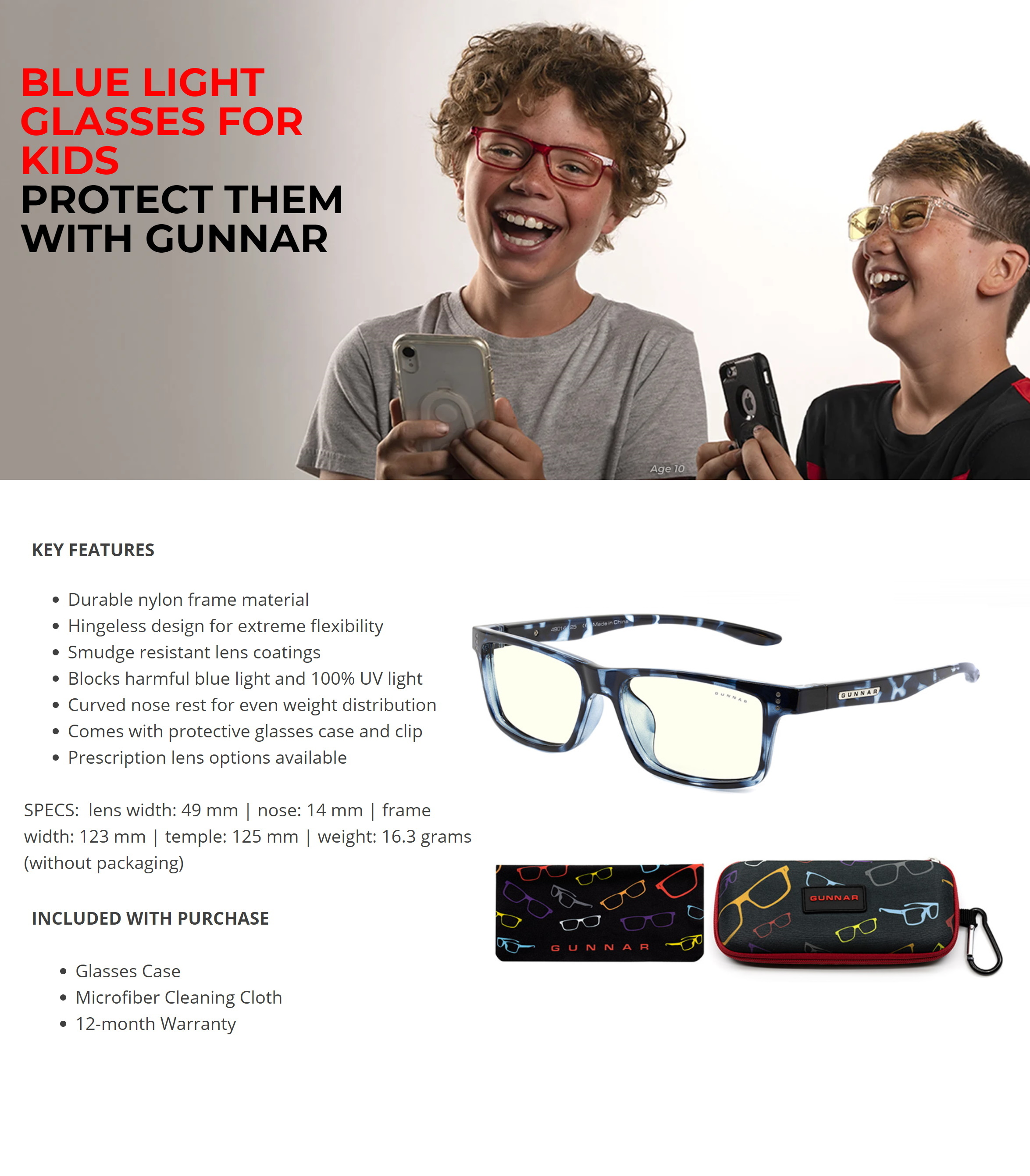 A large marketing image providing additional information about the product Gunnar Cruz Kids Clear Navy Tortoise Indoor Digital Eyewear Large - Additional alt info not provided