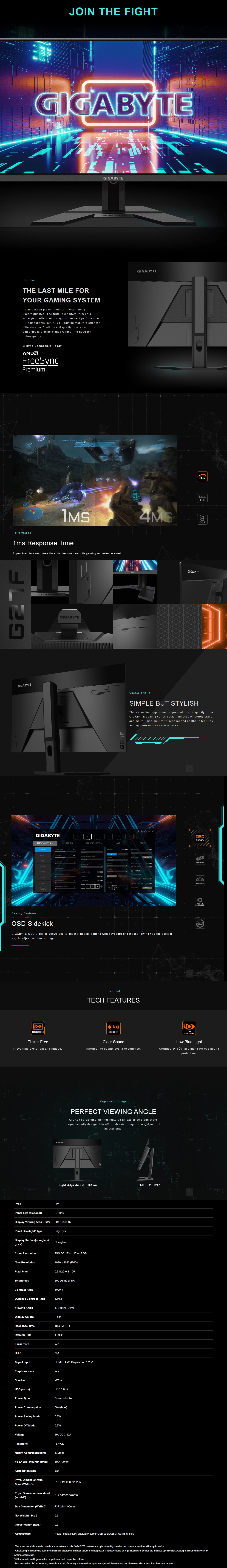 """A large marketing image providing additional information about the product Gigabyte G27F 27"""" Full HD FreeSync 1MS 144Hz IPS LED Gaming Monitor - Additional alt info not provided"""
