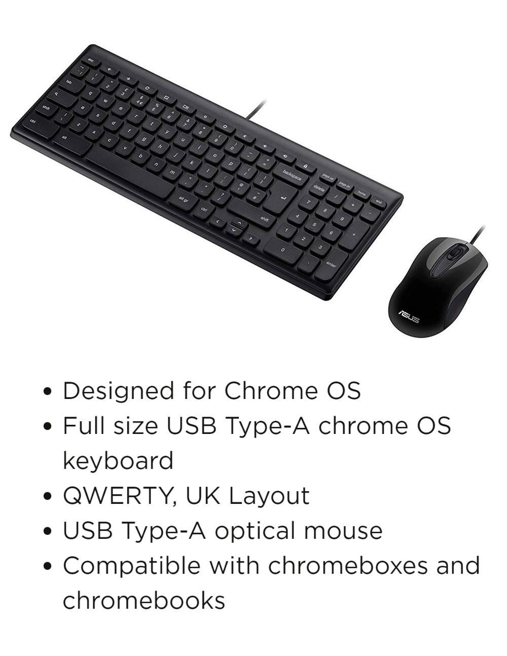 A large marketing image providing additional information about the product ASUS Chrome Wired Keyboard & Mouse Kit - Additional alt info not provided