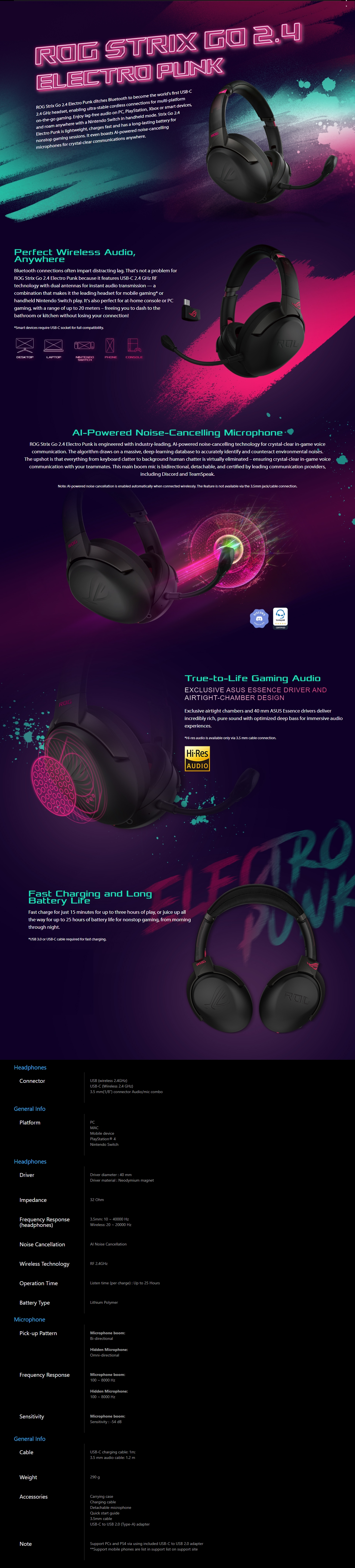 Buy Now | ASUS ROG Strix GO 2.4Ghz Wireless Gaming Headset - Electro Punk |  PLE Computers