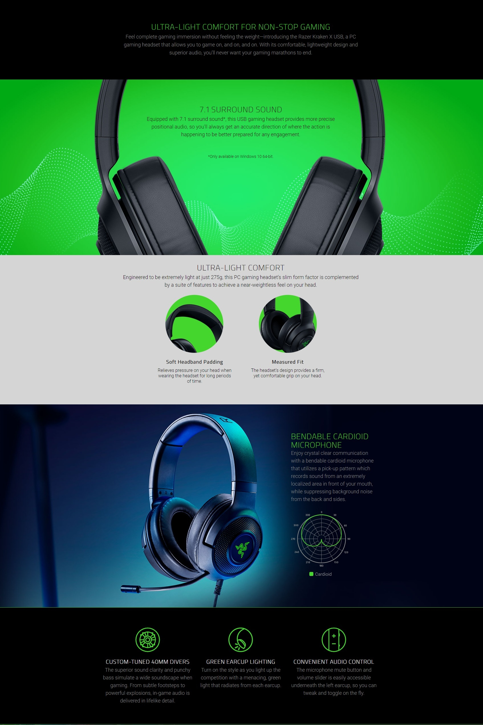 A large marketing image providing additional information about the product Razer Kraken X USB – Digital Surround Sound Gaming Headset - Additional alt info not provided