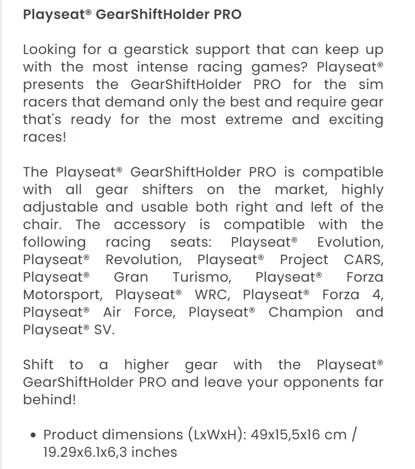 A large marketing image providing additional information about the product Playseat Gear Shiftholder Pro For Driving Simulator - Additional alt info not provided