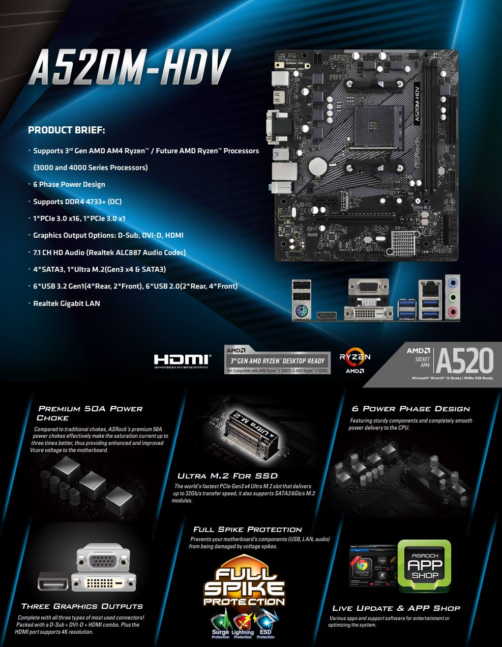 A large marketing image providing additional information about the product ASRock A520M HDV AM4 mATX Desktop Motherboard - Additional alt info not provided