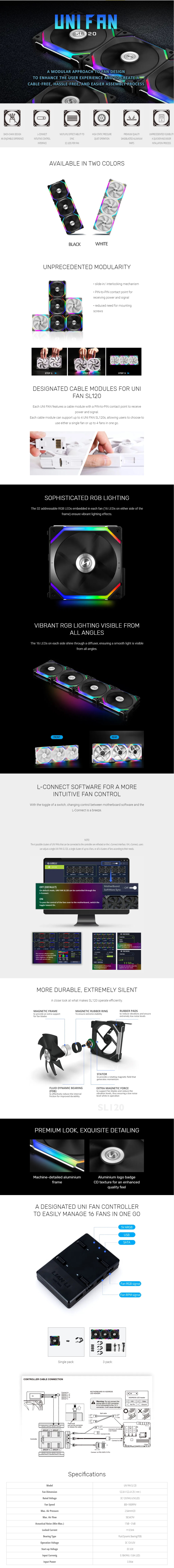 A large marketing image providing additional information about the product Lian-Li UNI Fan 120mm Cooling Fan Black - Single Pack - Additional alt info not provided