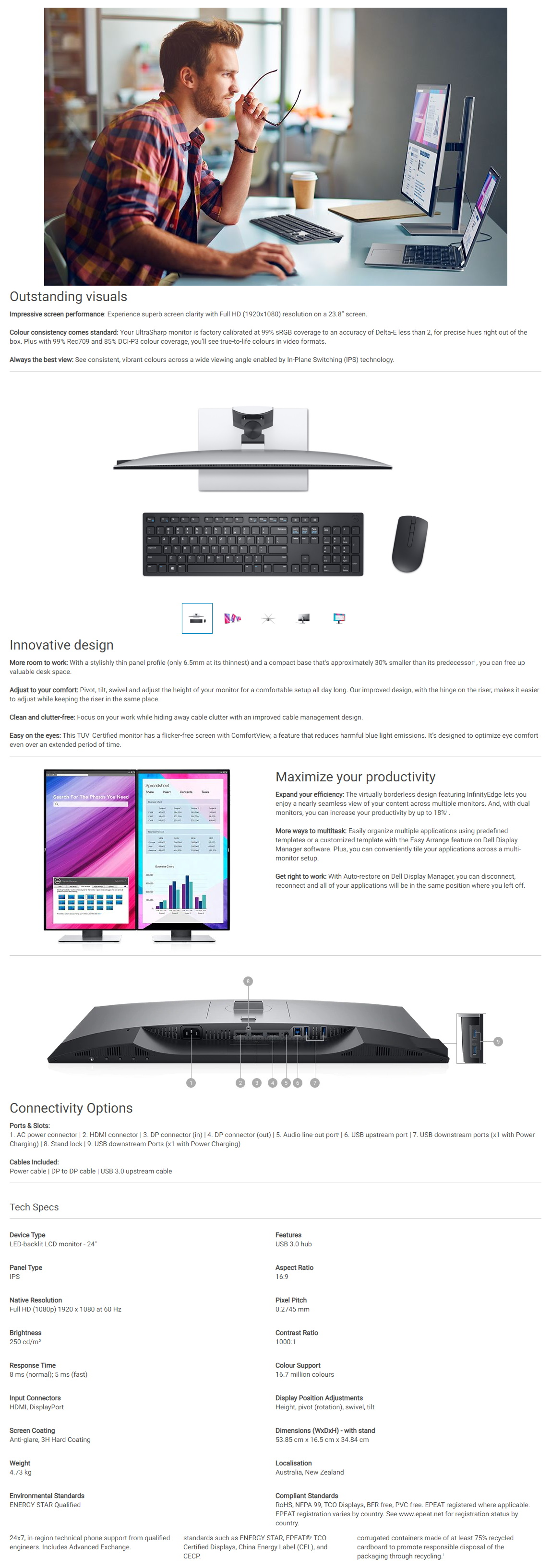 """A large marketing image providing additional information about the product Dell Ultrasharp U2419H 24"""" Full HD 8MS IPS LED Monitor - Additional alt info not provided"""